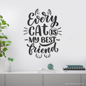 ADESIVO DE PAREDE EVERY CAT IS MY BEST FRIEND Adesivo cores