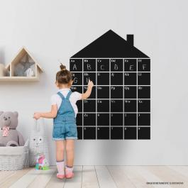 Adesivo Quadro Negro Casa com Alfabeto e Números Adesivo Fosco 88x120cm Preto Impressão UV