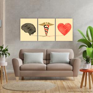 Conjunto Quadro Canvas - Brain and Heart Tecido Canvas Impresso 91,5x40,5   Estrutura em Madeira