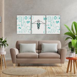 Conjunto Quadro Canvas - Medicina Tecido Canvas Impresso 91,5x40,5   Estrutura em Madeira