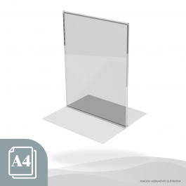 DISPLAY DE MESA ESTILO T VERTICAL - PAPEL A4 Acrílico Cristal 2mm 22x31,5cm