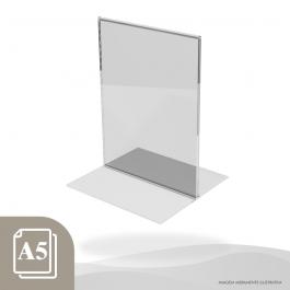 DISPLAY DE MESA ESTILO T VERTICAL - PAPEL A5 Acrílico Cristal 2mm 16x22cm