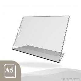 DISPLAY DE MESA HORIZONTAL - PAPEL A5 Acrílico Cristal 2mm 22x16cm