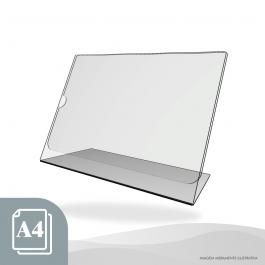 DISPLAY DE MESA HORIZONTAL - PAPEL A4 Acrílico Cristal 2mm 31x22cm