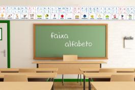 Lona Escolar Alfabeto Lona 440g Brilho 522x31cm  Impressão 1440p