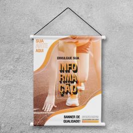 Banner Personalizado Impresso Lona  4x0  Madeira, ponteira plástica e corda