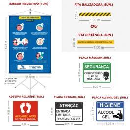 Kit Informativo COVID-19 Lona, Adesivos e Placas