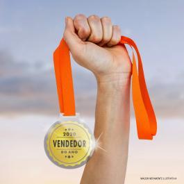 Medalhas de Acrílico Redondas Acrílico 4mm e Fita de Cetim 8x9cm Cristal  Redondo
