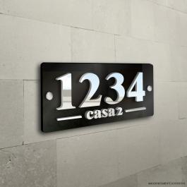 Números Residenciais Placa Acrílico H Acrílico 3mm  Preto, Branco, Espelhado Prata, Espelhado Dourado
