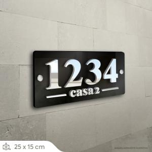 Números Residenciais - Placa Acrílico 25x15cm Acrílico 3mm 25x15cm