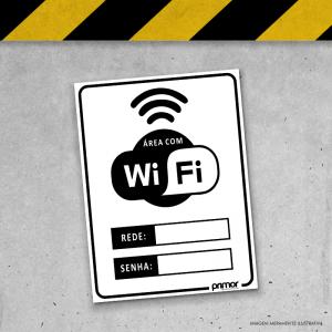 Placa de Sinalização - Área com Wi-Fi PS 3mm 20x15cm Impressão UV   Fita Dupla Face