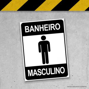 Placa de Sinalização - Banheiro Masculino PS 3mm 20x15cm Impressão UV   Fita Dupla Face
