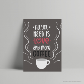 QUADRO DECORATIVO ALL YOU NEED IS COFFEE PS 3mm 21 x 29 cm    Fita Dupla face