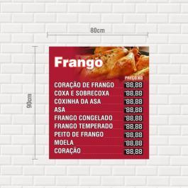 Placa Frango PS 2mm 80x90cm  Adesivo impresso Laminação