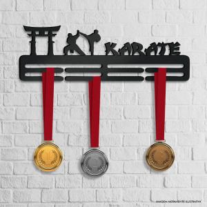 Porta Medalhas Karate MDF 6mm 40x13cm Preto   Fita Dupla Face