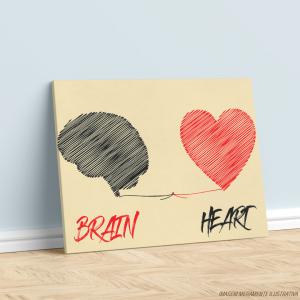 Quadro Canvas - Brain <3 Heart Tecido Canvas Impresso Três Tamanhos   Estrutura em Madeira