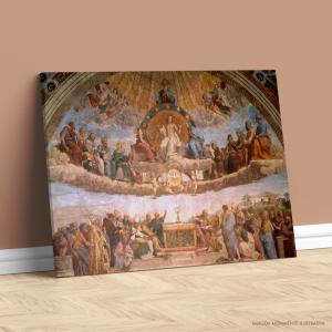 Quadro Canvas -  Disputation of the Holy Sacrament Rafael Tecido Canvas Impresso Três Tamanhos   Estrutura em Madeira