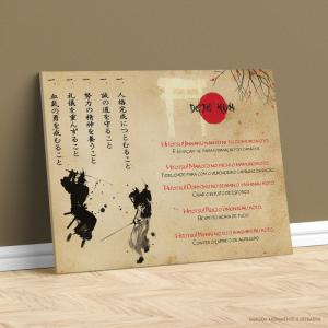 Quadro Canvas - Dojo Kun Samurais Tecido Canvas Impresso Três Tamanhos   Estrutura em Madeira