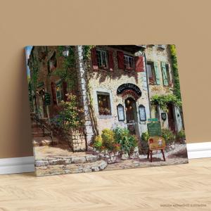 Quadro Canvas - RESTAURANT Tecido Canvas Impresso Três Tamanhos   Estrutura em Madeira