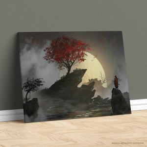 Quadro Canvas - samurai e sakura sob o luar Tecido Canvas Impresso Três Tamanhos   Estrutura em Madeira