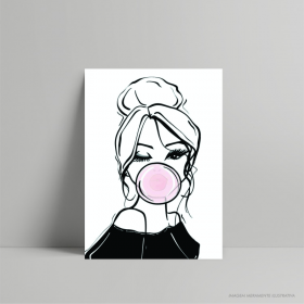 QUADRO DECORATIVO BUBBLE GIRL PS 3mm 21x29cm    Fita Dupla face