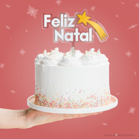 TOPO DE BOLO FELIZ NATAL ESTRELADO 🎅🎄 Acrílico 2mm + Acrílico 2mm 14x15cm