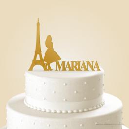 Topo de Bolo Torre Paris Acrílico 3mm
